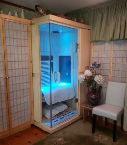 Our Sunlighten mPulse sauna delivers near, mid, and far infrared therapy to help clients with pain relief, body detoxification, relaxation, and weight loss.